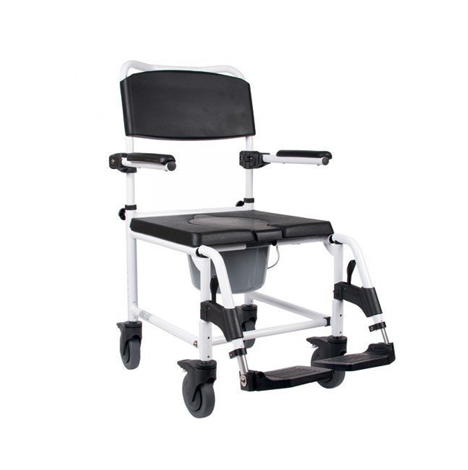 shows a wheeled version of a shower and commode chair in white and black