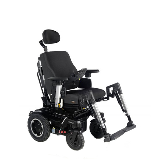 Shows electric wheelchair rear wheel drive
