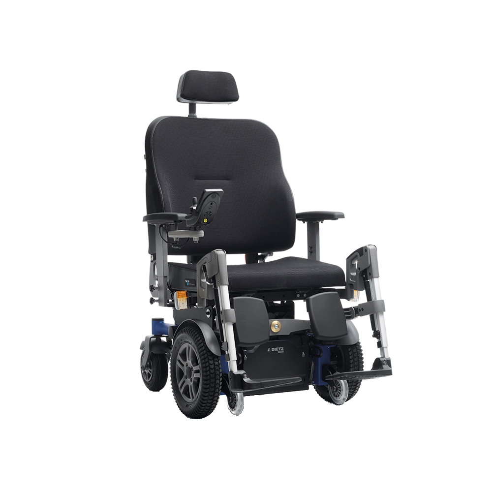 Shows front wheel drive electric wheelchair from Dietz
