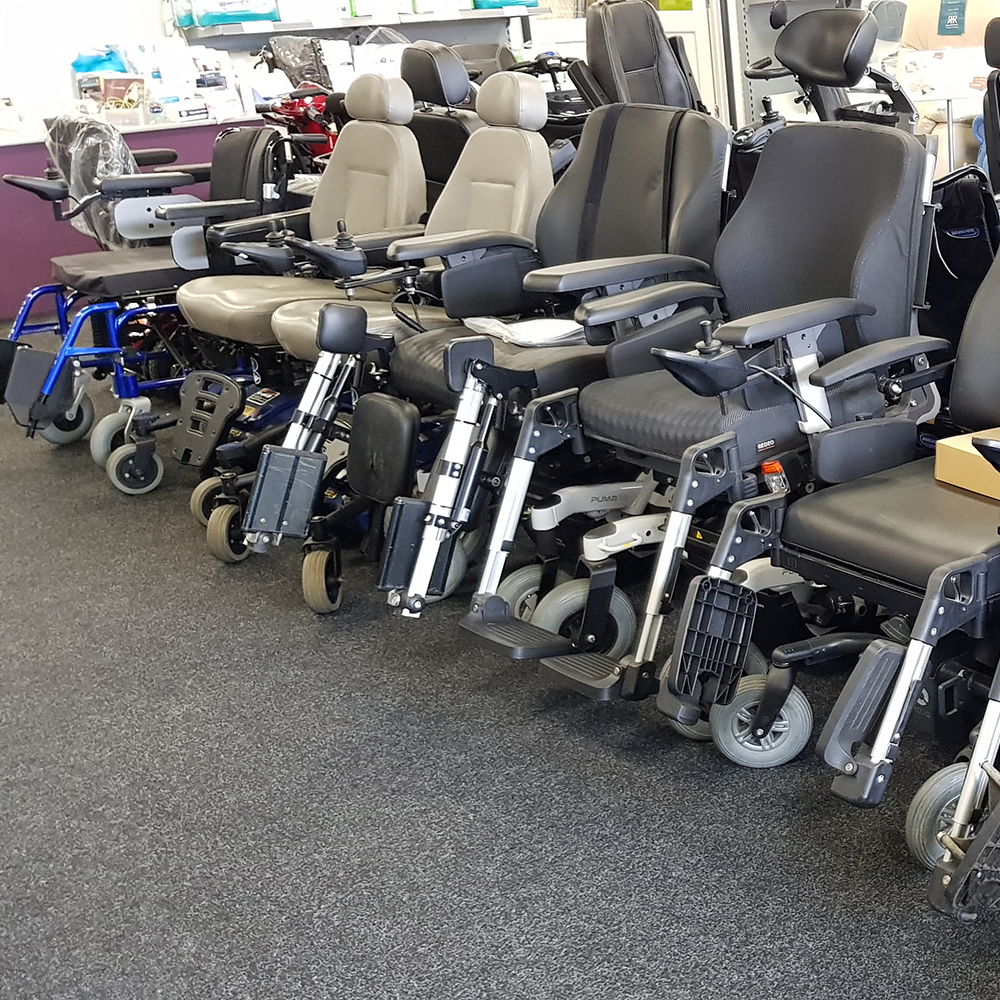 Shows a range of clearance electric wheelchairs